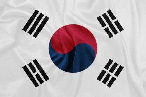 South Korea - Waving national flag on silk texture